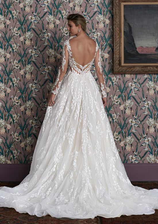 Justin Alexander Signature Style 99155 JULIE Floral Lace Gown with Long Sleeves and Deep V-Neck