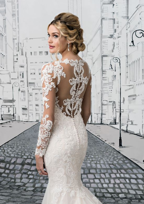 Justin Alexander  Pearl Beaded Lace Gown with Illusion Lace Sleeves, Neckline and Back