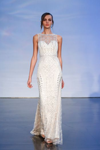 Justin Alexander Signature Style 99064 Geometric Beaded Fit and Flare Dress with Keyhole Back