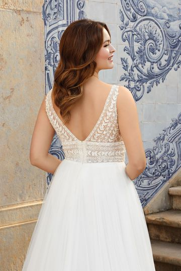 Sincerity Bridal Style 44120PS Beaded Plus Size A-Line Gown with English Net Skirt
