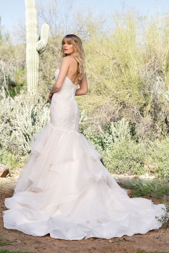 Lillian West Style 6528 Asymmetric Dropped Waist Dress with Tiered Skirt