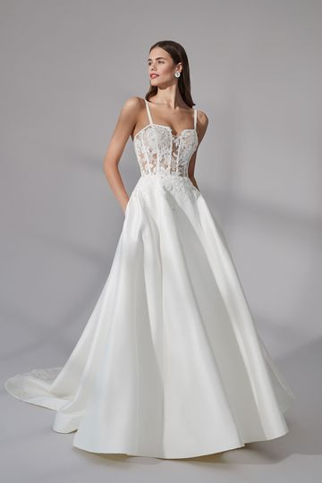 Justin Alexander Signature Style 99175 Lanier Stretch Mikado A-Line Gown with Notched Square Neckline