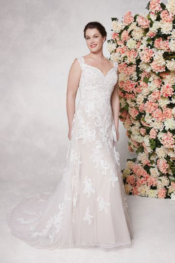 Sincerity Bridal Style 44075PS Off-the-Shoulder A-line Plus Size Gown with Embroidered Lace