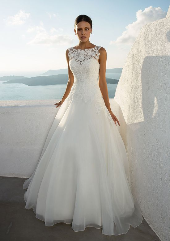 Justin Alexander Style 88020 Illusion Lace Neckline with Organza A-Line Skirt