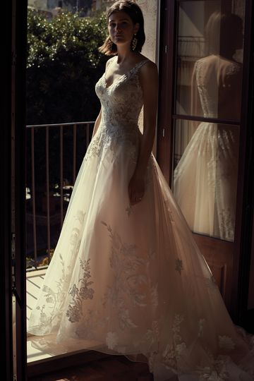 Justin Alexander Style 88086 Tulle and Lace Ball Gown with Chapel Length Train