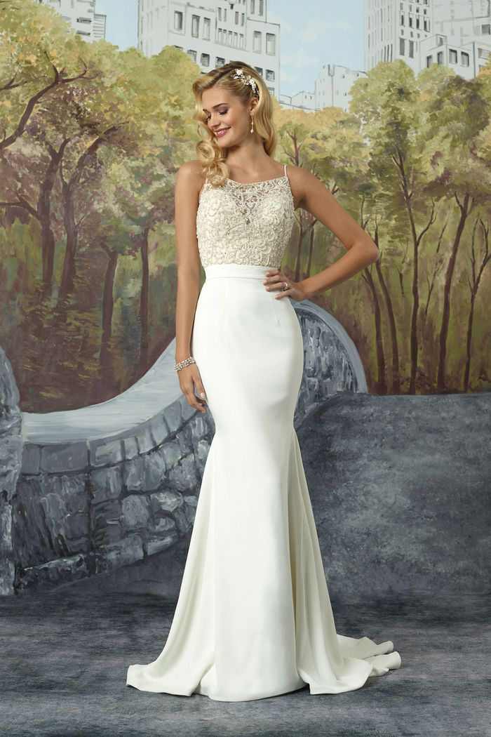 Justin Alexander Crepe Fit and Flare Gown with Square Neckline Beaded Bodice