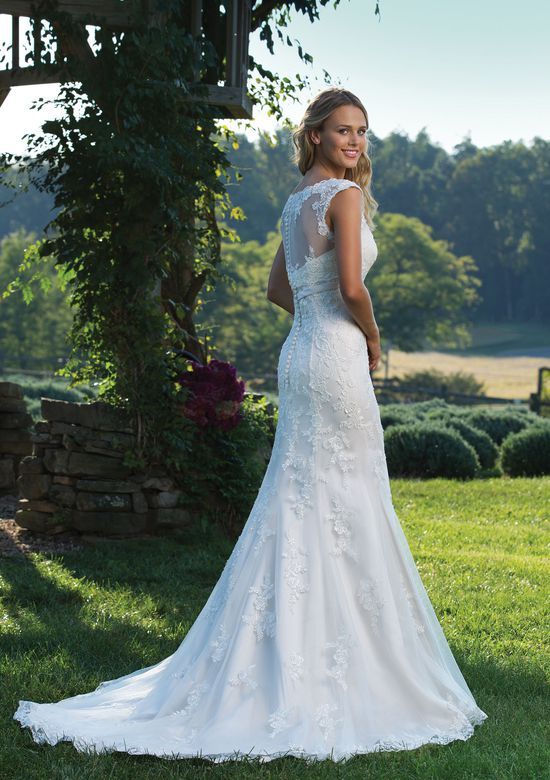 Sincerity Bridal Beaded Embroidered Lace Fit and Flare Gown