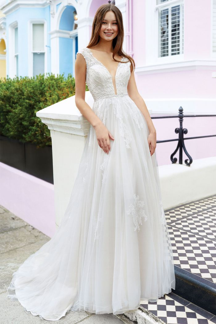 Adore by Justin Alexander Style 11135 Plunging Beaded Bodice Gown with Cap Sleeves and Chantilly Lace