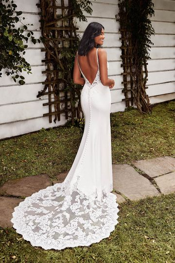 Sincerity Bridal Style 44263 Low Back Stretch Crepe Fit and Flare Gown with Cutout Train