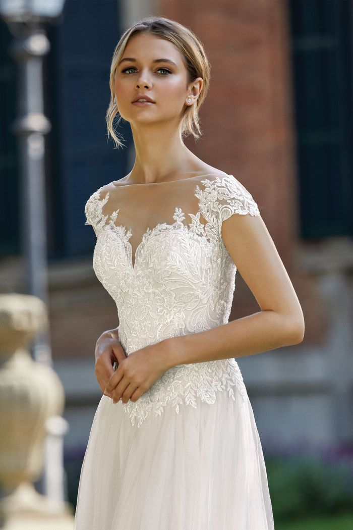 Sincerity style 44144 A-Line Dress with Illusion Sabrina Neckline and Beaded Appliques