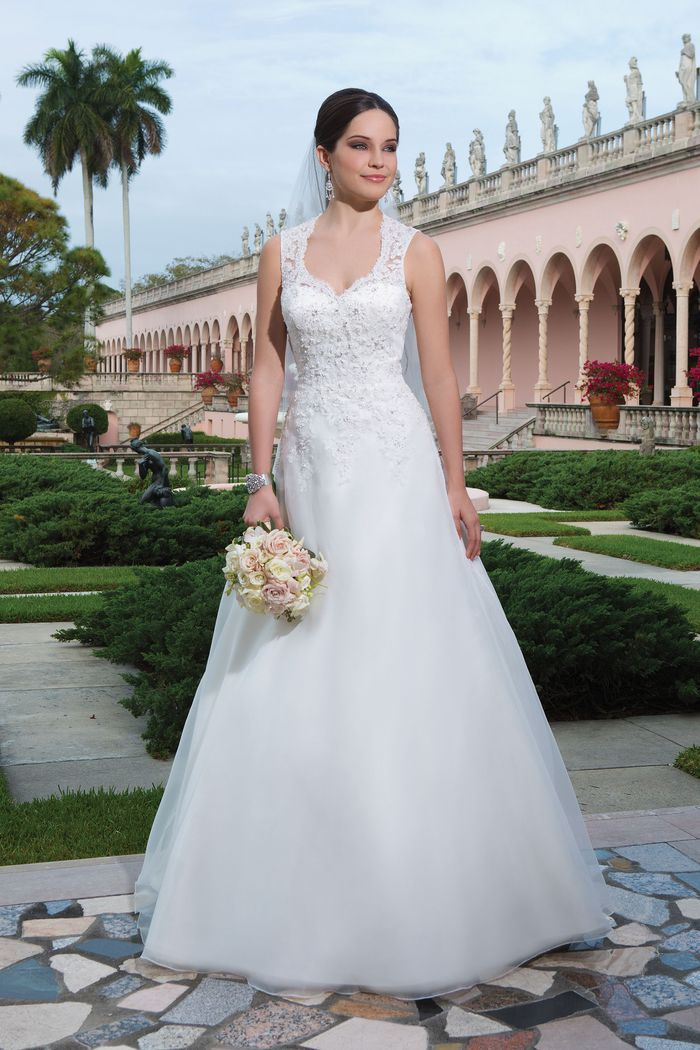 Sweetheart Gowns Style 6066 Organza, beaded alencon lace A-line dress embellished by a Queen Anne neckline