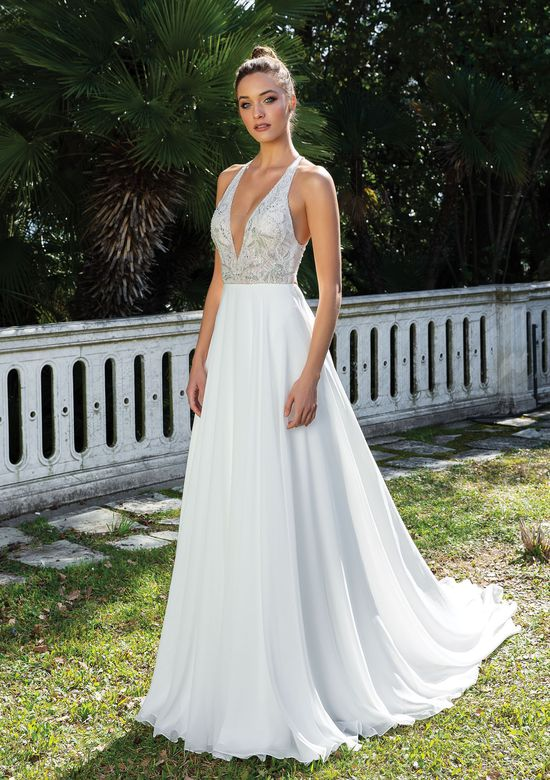 Justin Alexander Style 88105 Chiffon A-Line Beaded Gown