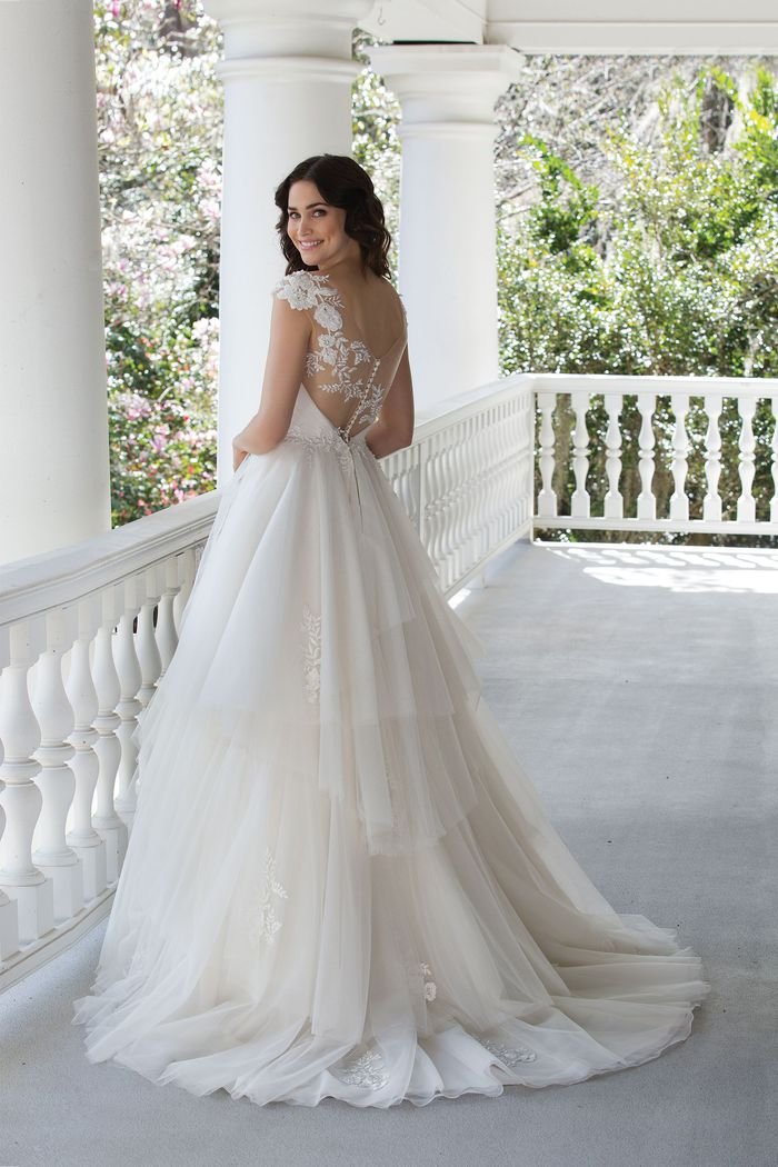 Sincerity Bridal Style 3968 Romantic Ball Gown with Lace Accents and Tiered Skirt