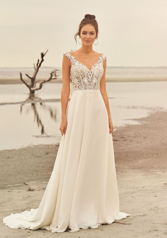 Lillian West Style 66097 Lace Illusion Bodice A-Line Gown