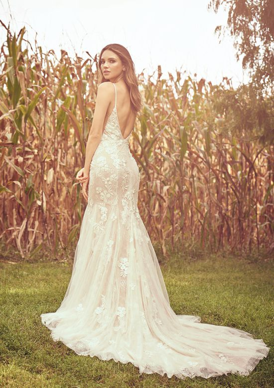 Lillian West Style 66075 Beaded Venice and Chantilly Lace Fit and Flare Gown