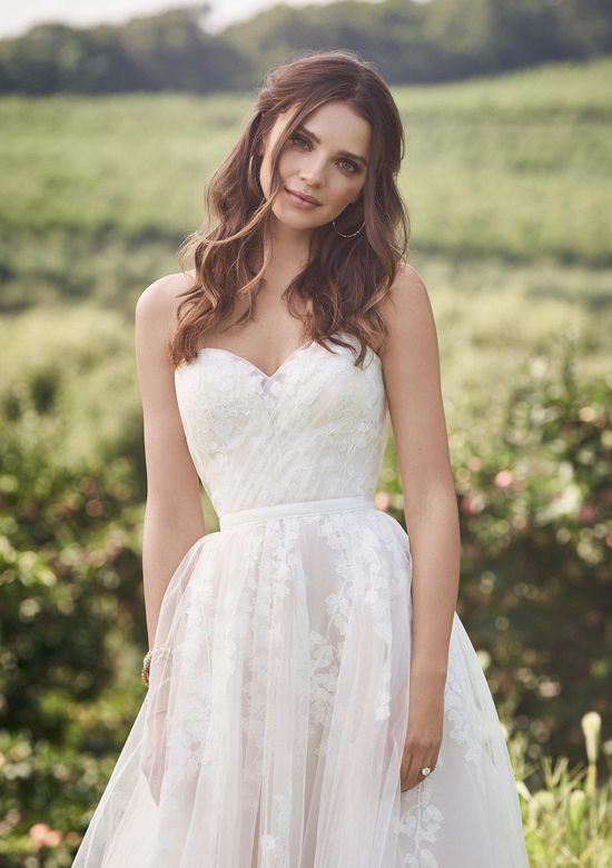 Lillian West Style 66140 Strapless Sweetheart Gown with Leaf appliqués and Grosgrain Belt