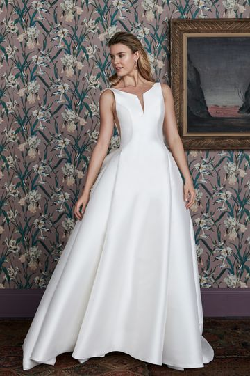 Justin Alexander Signature Style 99145 HADEN A-Line Mikado Dress with Notch Neckline and Dramatic Bow