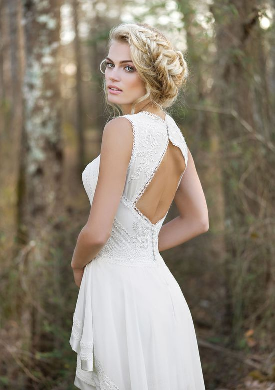 Lillian West Style 6445 High-Low Mini Dress with High Neck and Keyhole Back