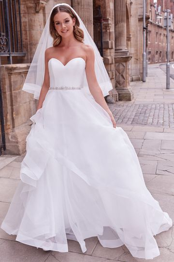 Adore by Justin Alexander Style 11176V Bliss Veil Tiered Fingertip Length Veil with Horsehair Trim