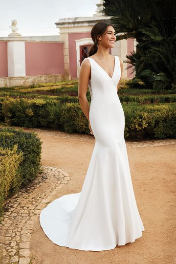 Sincerity Bridal Style 44231 Stretch Crepe Fit and Flare Dress with Ruched Tulle Back