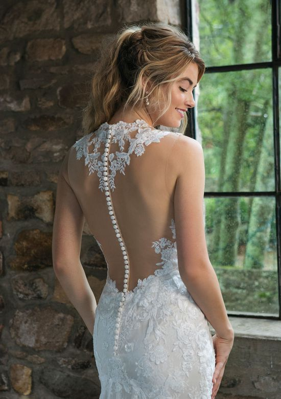 Sincerity Bridal Style 44056 Queen Anne Allover Lace Fit and Flare Gown