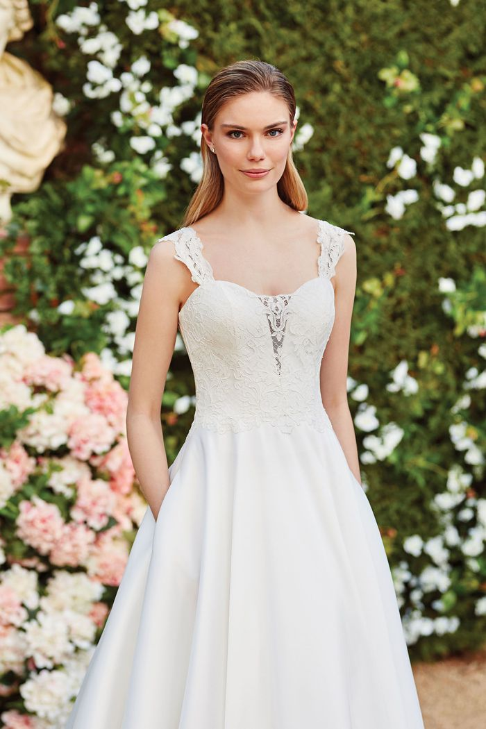 Sincerity Bridal Style 44160SL Lace Mikado Ball Gown with Illusion Lace Detachable Straps