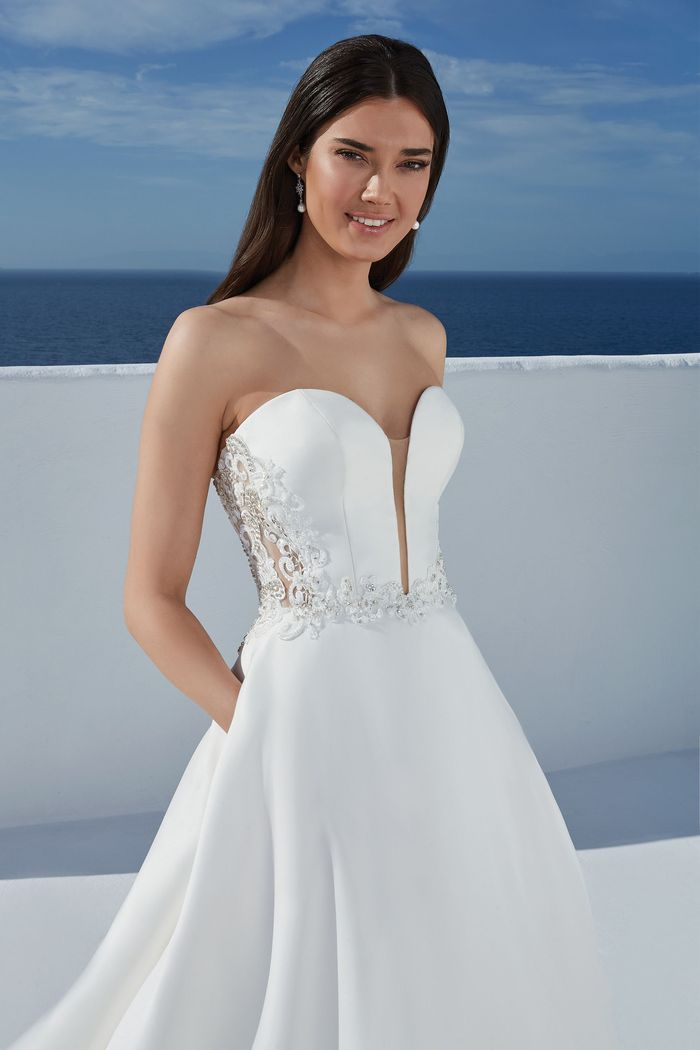 Justin Alexander Style 88172 Blake Modern Mikado Ball Gown Accented with Beaded Lace Appliques