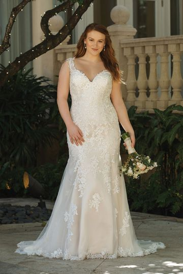 Sincerity Bridal Style 44054PS V-Neck Fit and Flare Plus Size Gown with Illusion Lace Back