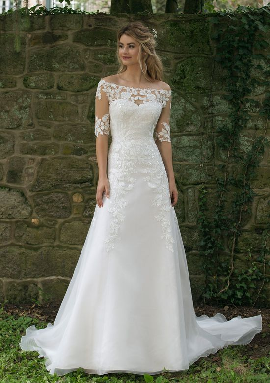 Sincerity style 44058 Off the Shoulder Lace Illusion A-Line Gown
