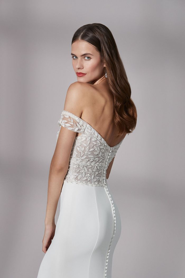 Justin Alexander Signature Style 99187 Westfield Beaded Crepe Fit and Flare Dress with Scalloped Cutout Train