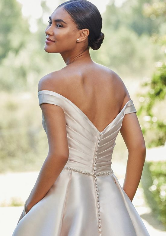 Sincerity Bridal Style 44222 Pleated Off The Shoulder Ball Gown with Beaded Waist and Pockets