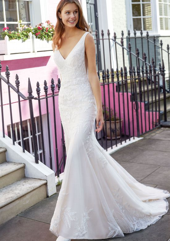 Adore by Justin Alexander Style 11136 Fit and Flare Gown with Beaded Embroidered Lace and Side Cutouts