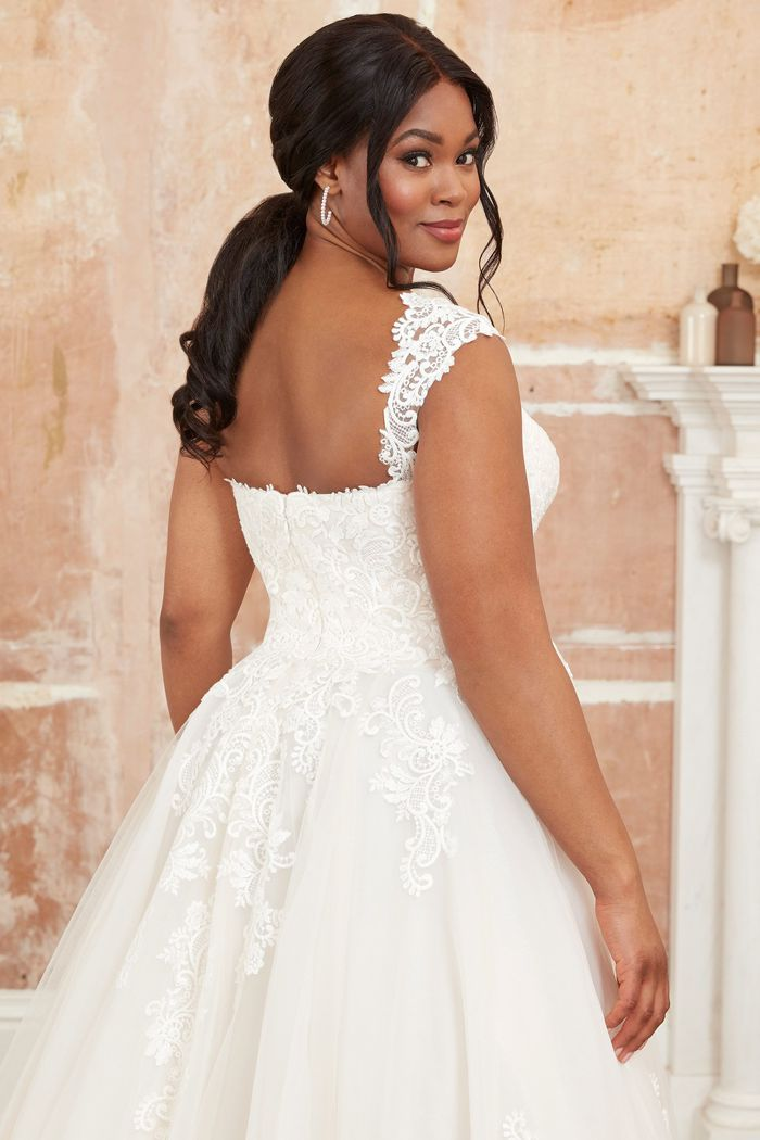 Adore by Justin Alexander Style11125PS Plus Size Ball Gown with Sweetheart Neckline and Detachable Cap Sleeves