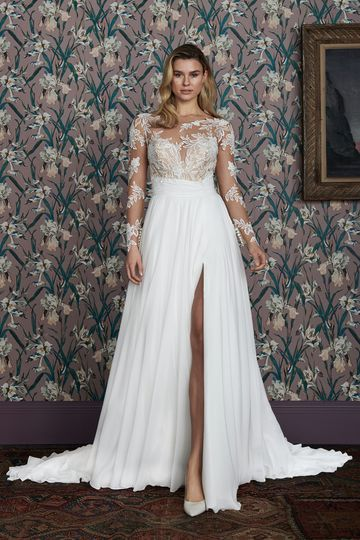 Justin Alexander Signature Style 99141 ADDERLEY Long Sleeve A-Line Gown with Asymmetrical Ruched Cummerbund