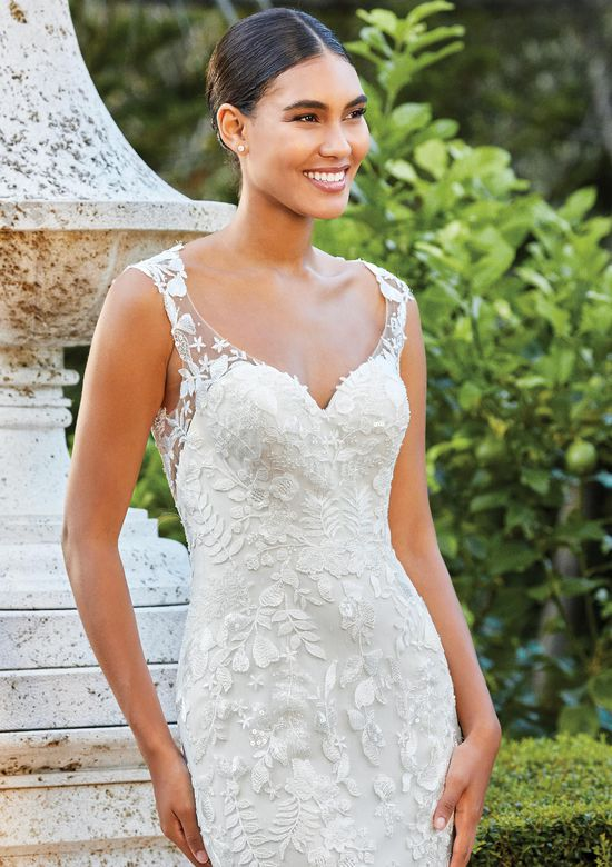 Sincerity Bridal Style 44213 Sequin Lace Fit and Flare Dress with Queen Anne Neckline