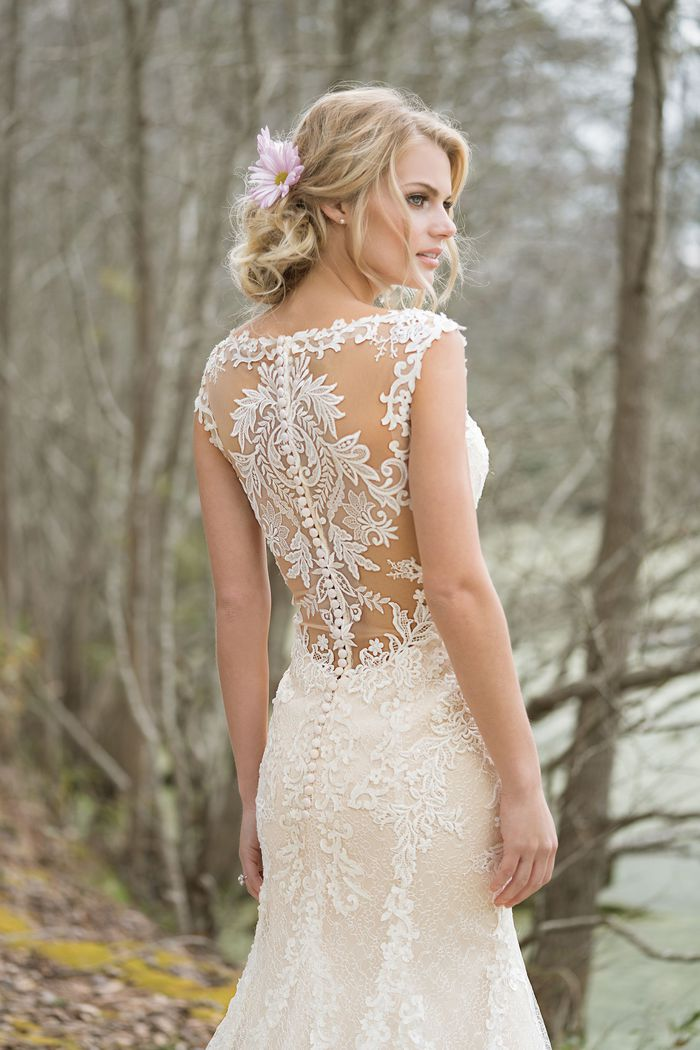 Lillian West Style 6459 V-Neck Fit and Flare Gown with Lace Appliqués and Illusion Back