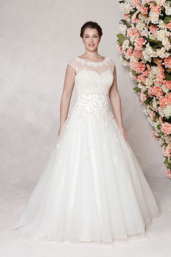 Sincerity Bridal Style 3771PS Beaded Lace Plus Size Ball Gown with Sabrina Neckline