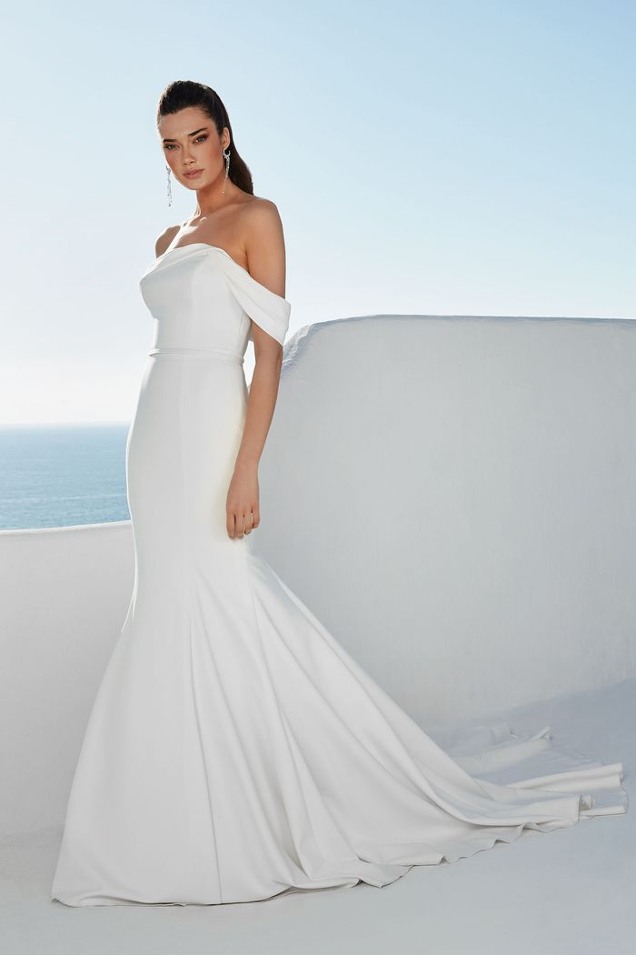 Justin Alexander Style 88165 Brynn Stretch Crepe Fit and Flare with Draped Off the Shoulder Neckline