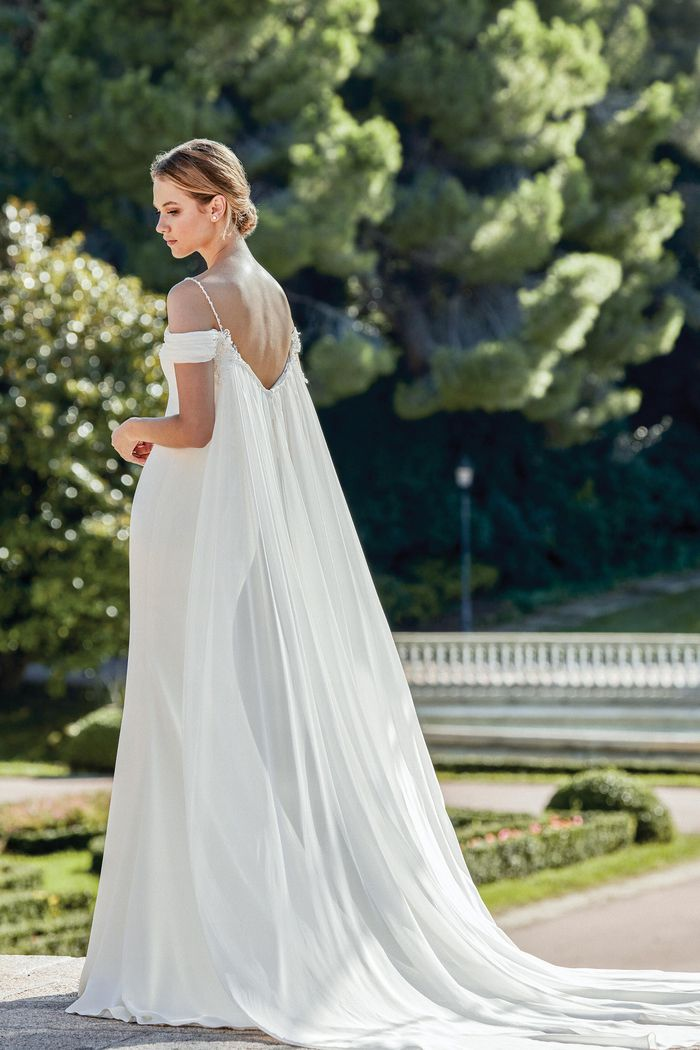 Sincerity Bridal Style 44129DT Draped Chiffon Detachable Train