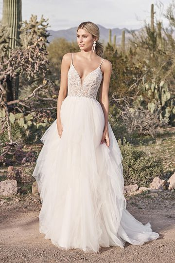 Lillian West Style 66177 Beaded Bikini Neckline Ball Gown with Tulle Handkerchief Skirt