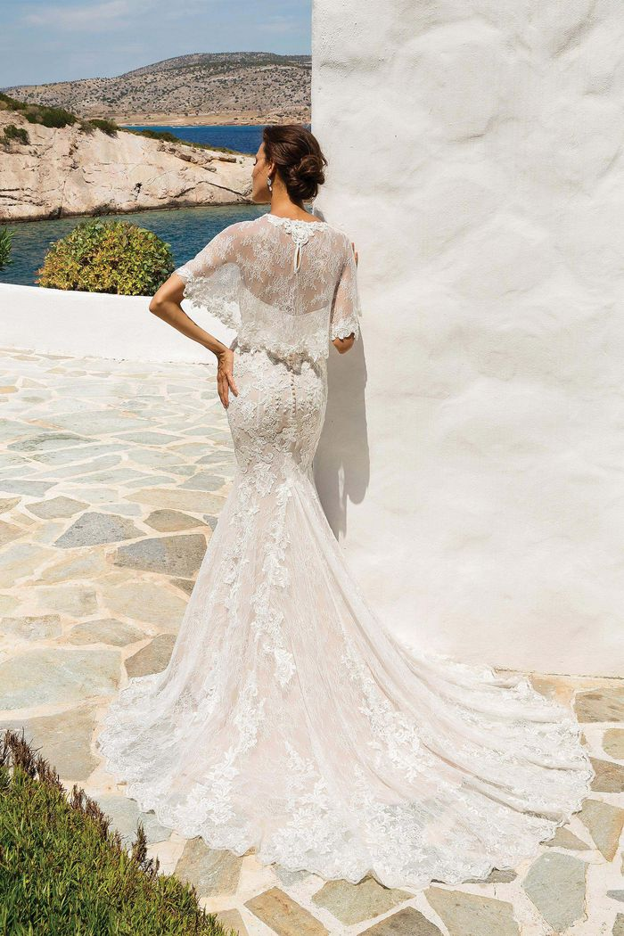 Justin Alexander Style 8920C Chantilly Lace Cape with Scalloped Hem