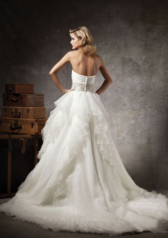 Justin Alexander Style 8640 Organza ball gown accented by a sweetheart neckline