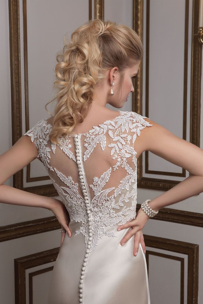 Justin Alexander  Venice Lace and Luxe Charmeuse Bridal Gown