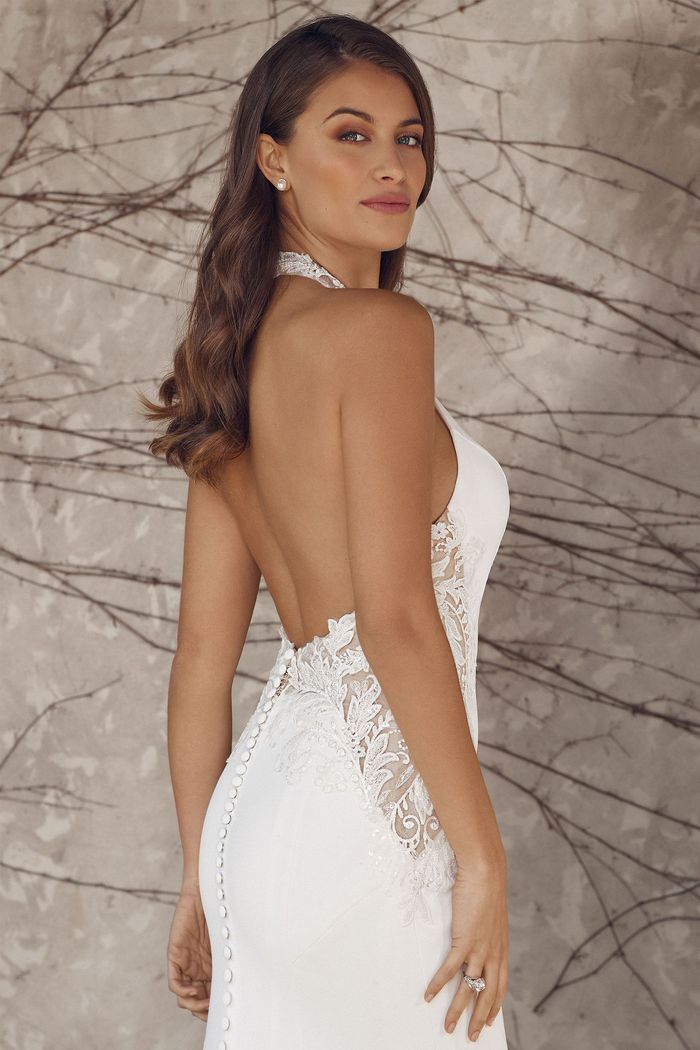 Justin Alexander Style 88138 Aaliyah Crepe Wedding Dress with Jewel Neckline and Lace Side Cut Outs