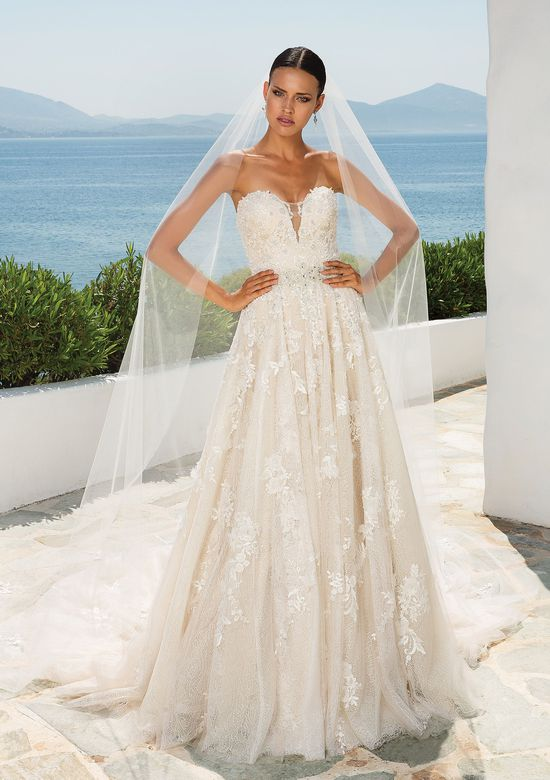 Justin Alexander Style 8921 Textured Lace Dress with Dimensional Flowers Sweetheart Neckline