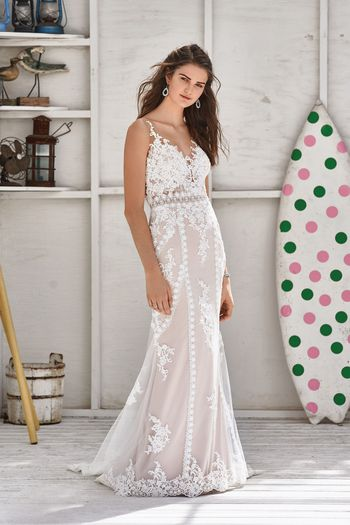 Lillian West Style 66052 Lace Fit and Flare Gown with Striping Trim Detail