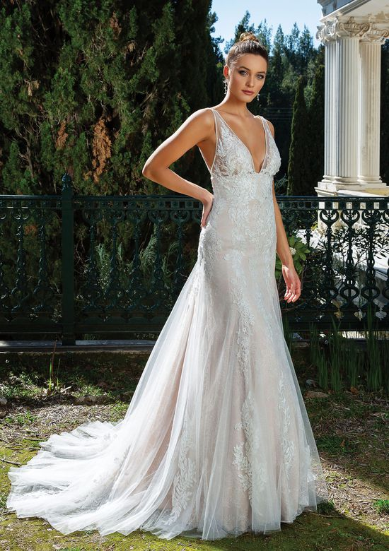 Justin Alexander Style 88121 V-Neck with Straps Fit and Flare Gown