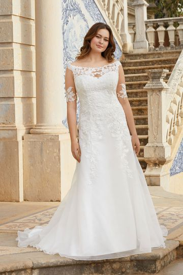 Sincerity Bridal Style 44058PS Off the Shoulder Lace Illusion A-Line Plus Size Gown