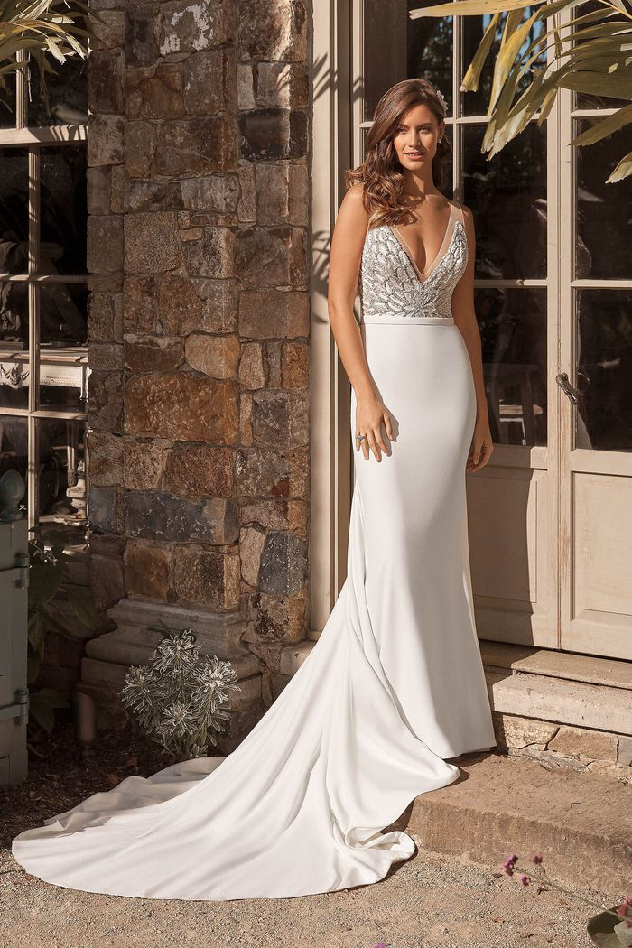 Justin Alexander Style 88074SD2 Beaded Illusion V-Neckline Bodice with A-line Chiffon Skirt