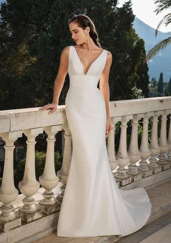 Justin Alexander style 88071D Deep V-neck Mikado Fit and Flare Gown